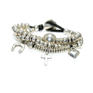Round Leather Silver Multi Charm Button Bracelet - SPREE