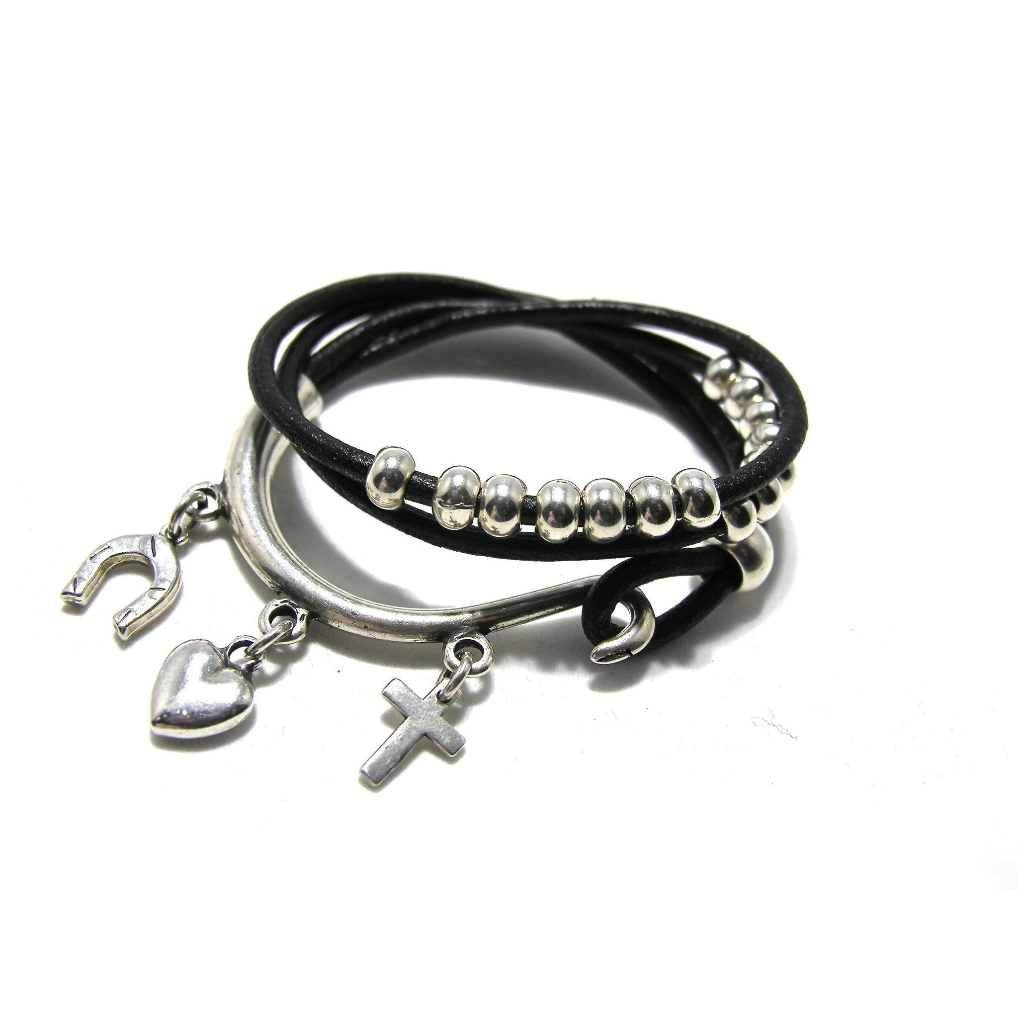 Round Leather Silver Double Wrap Charm Cuff - SPREE