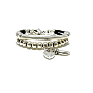 Round Leather Silver Hammered Tube Charm Bracelet - SPREE
