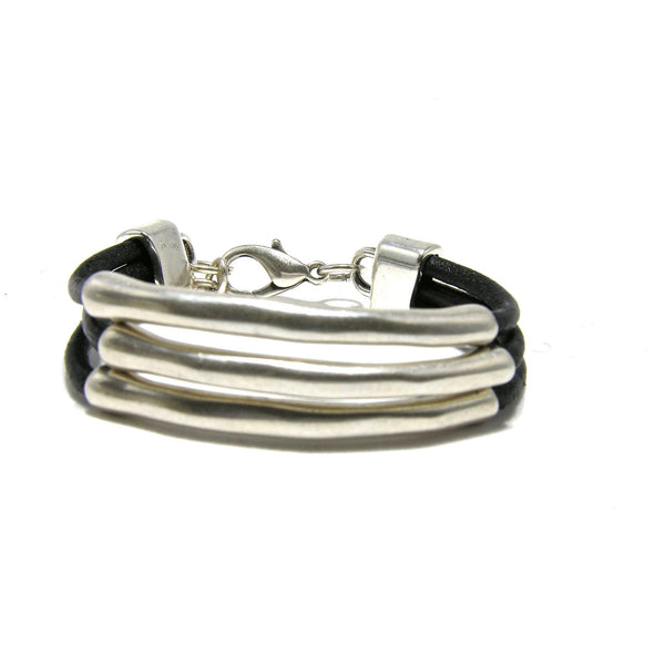 Round Leather Silver Triple Tube Bracelet - SPREE