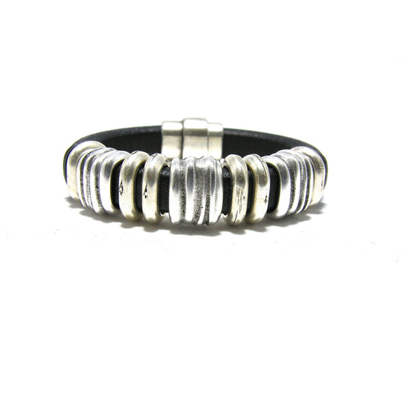 Thick Black Leather Antique Silver Multi Slider Bracelet - SPREE