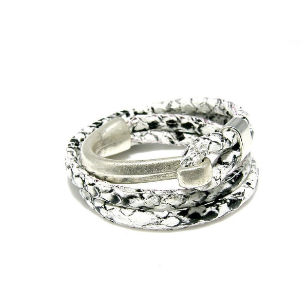Leather Double Snake Print Silver Cuff Bracelet - SPREE