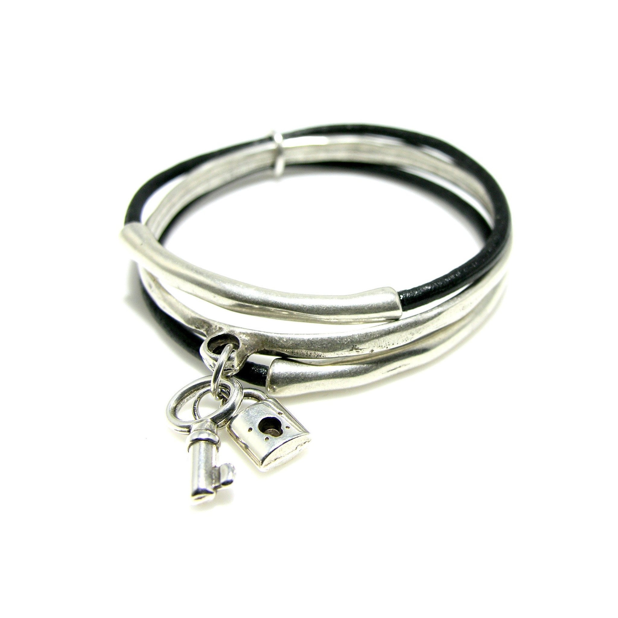 Leather Antique Silver Triple Irregular Tube Bangle - SPREE