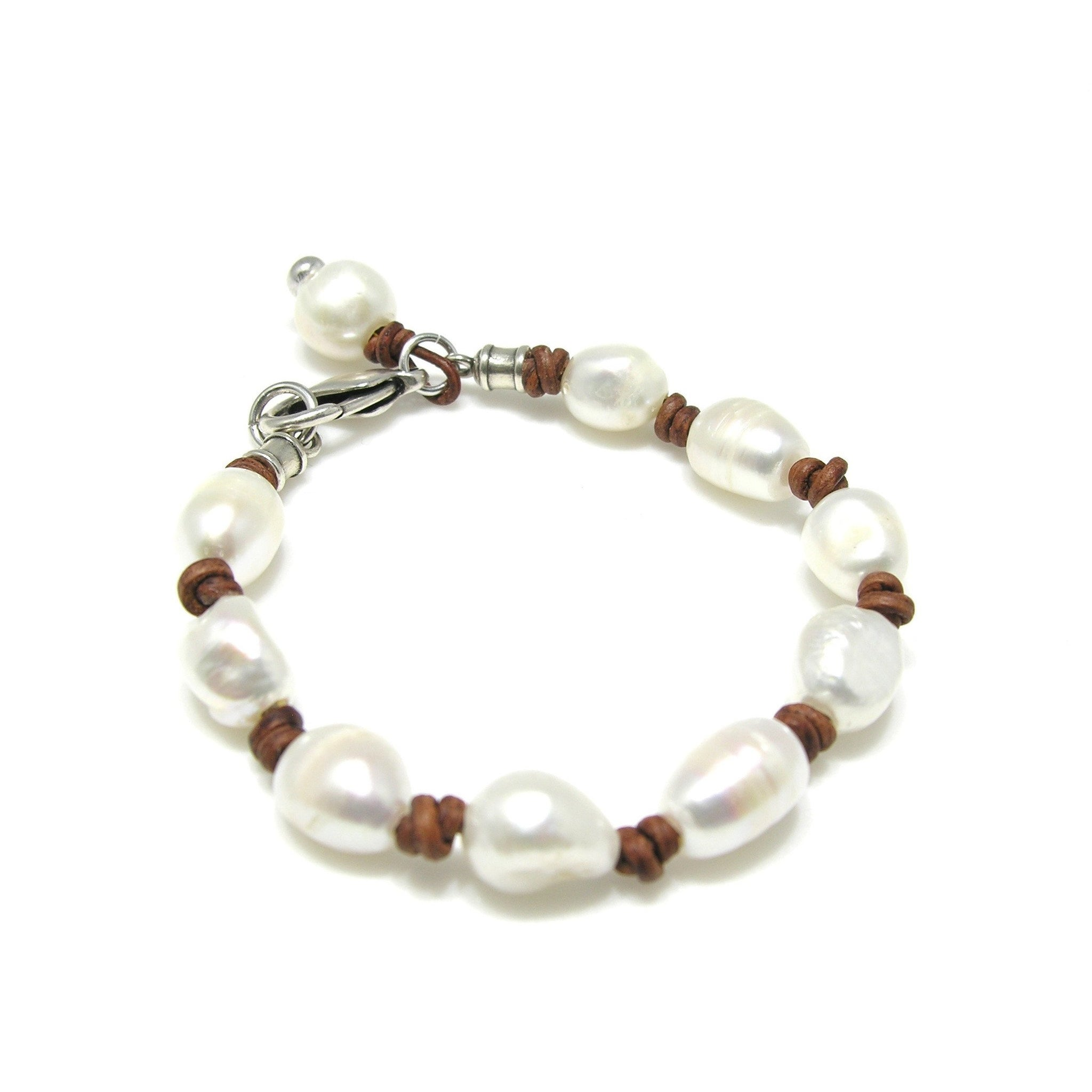 Leather Genuine Oval Pearl Knotted Bracelet - SPREE