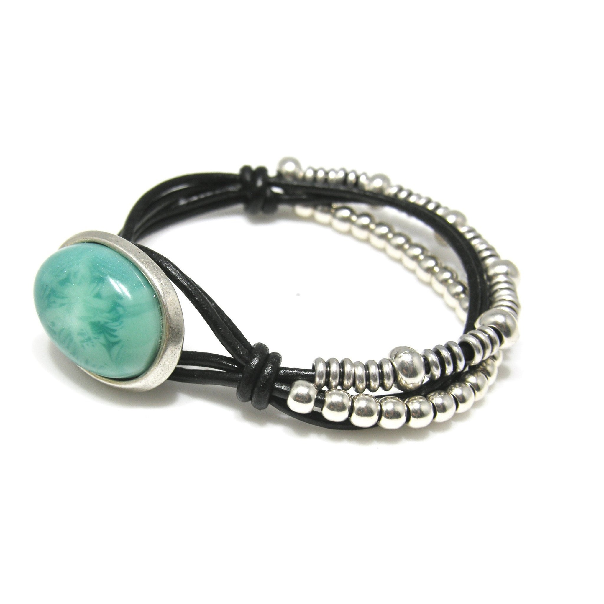 Leather Silver Turquoise Button Bracelet - SPREE