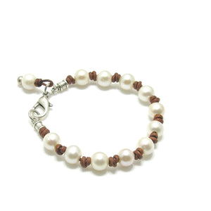 Genuine Leather Small Pearl Knotted Bracelet - SPREE