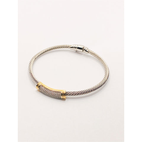 Pave Bar Cable Cuff Bracelet