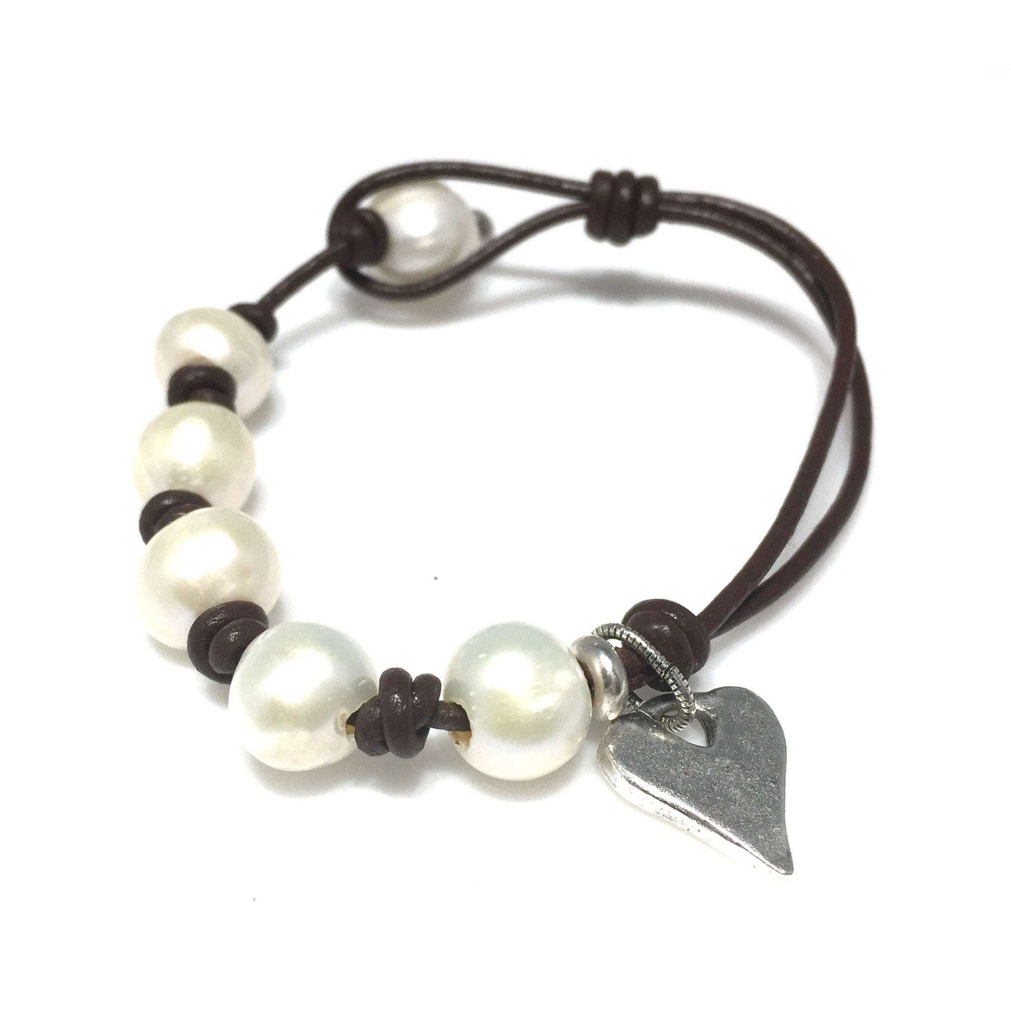 Leather Pearl Knotted Charm Bracelet - SPREE