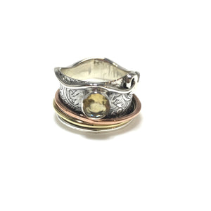Sterling Silver Topaz Meditation/Spinner Ring - SPREE