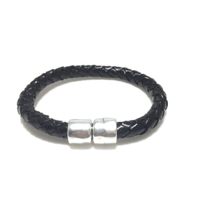 Men's Round Braided Leather Magnetic Clasp Bracelet - SPREE