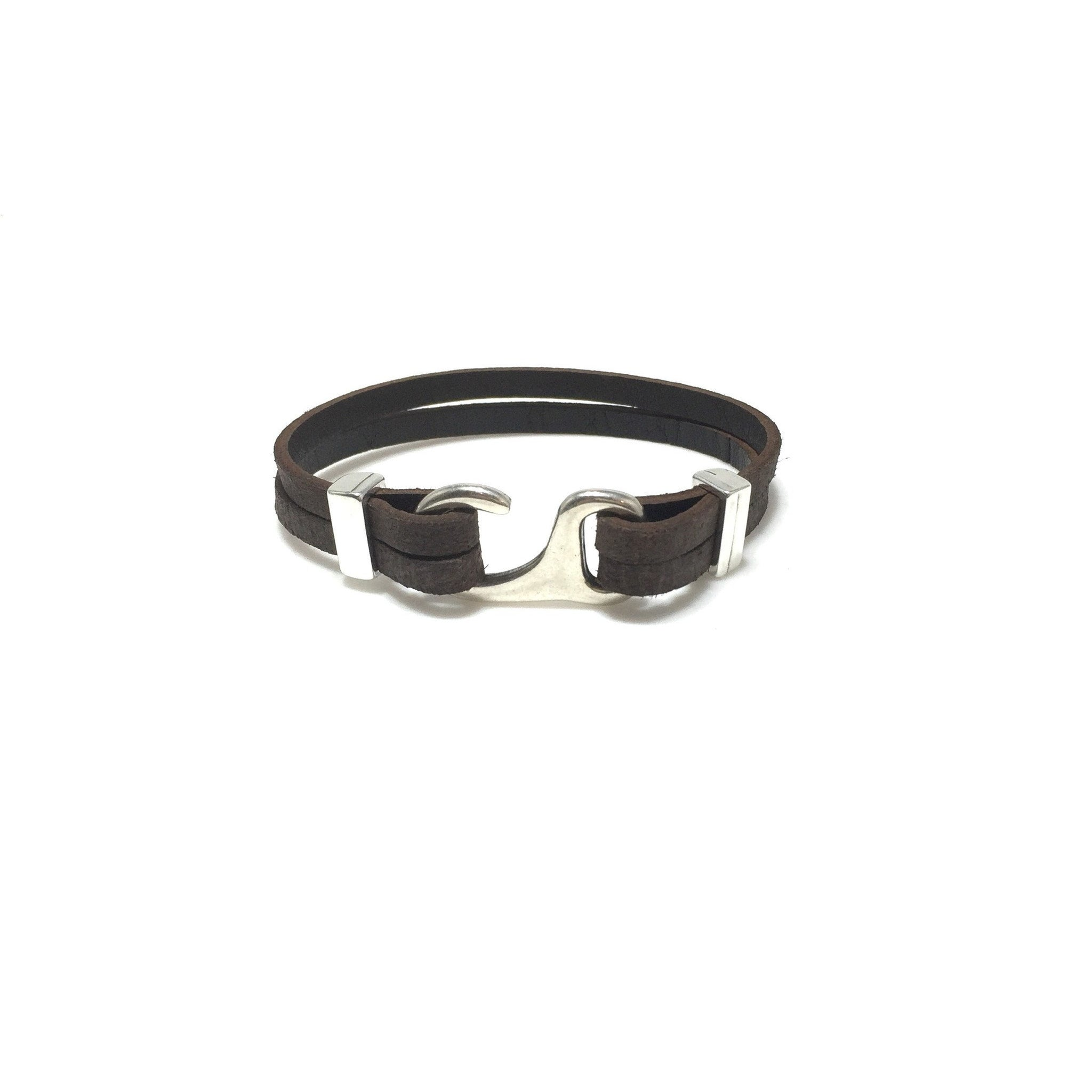 Men's Flat Leather Hook Bracelet - SPREE