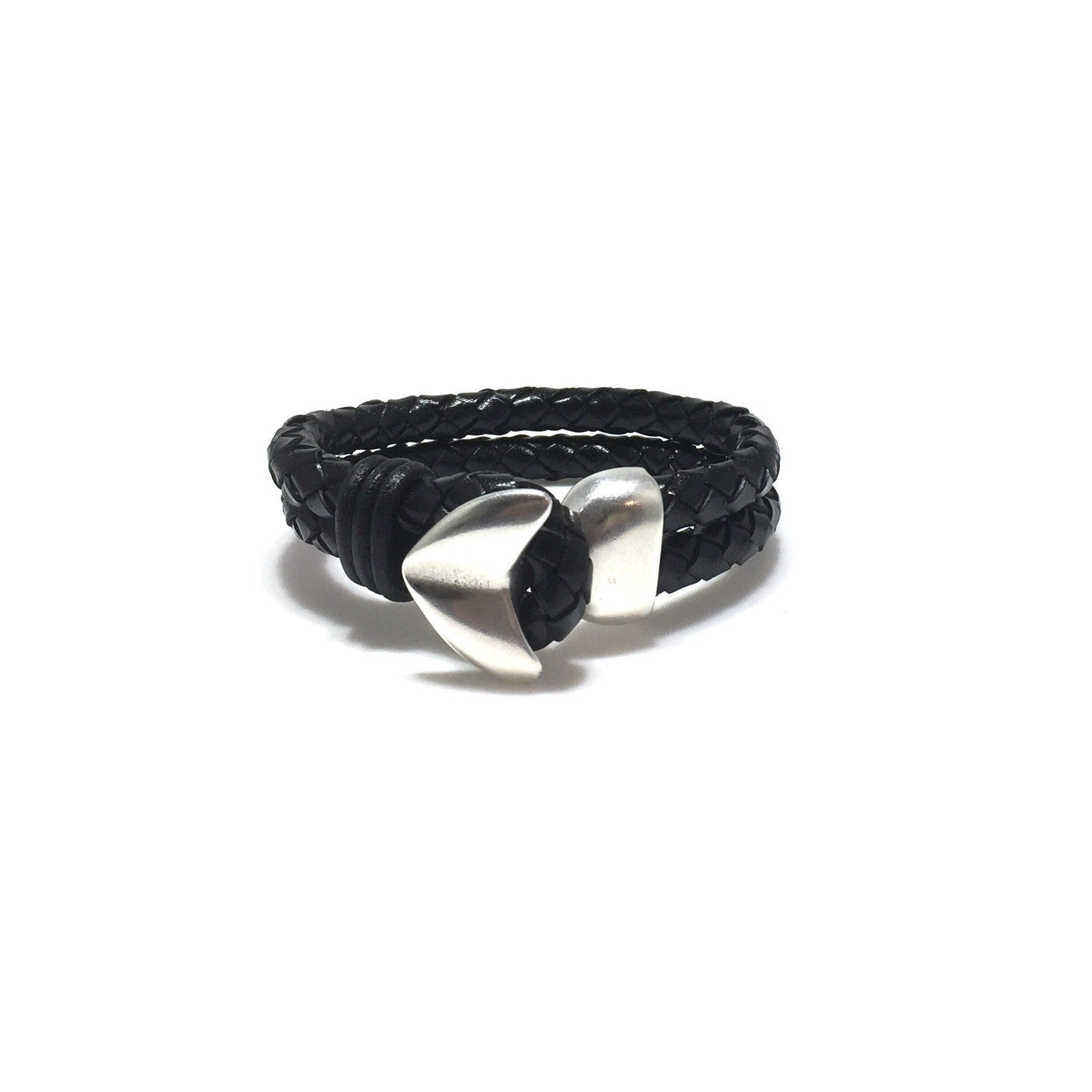 Men's Double Braided Leather Arrow Bracelet - SPREE