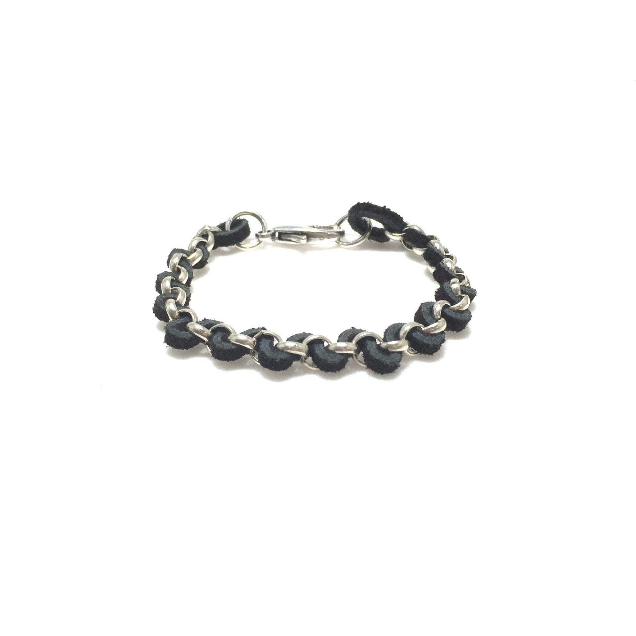Suede Antique Silver Chain Bracelet - SPREE