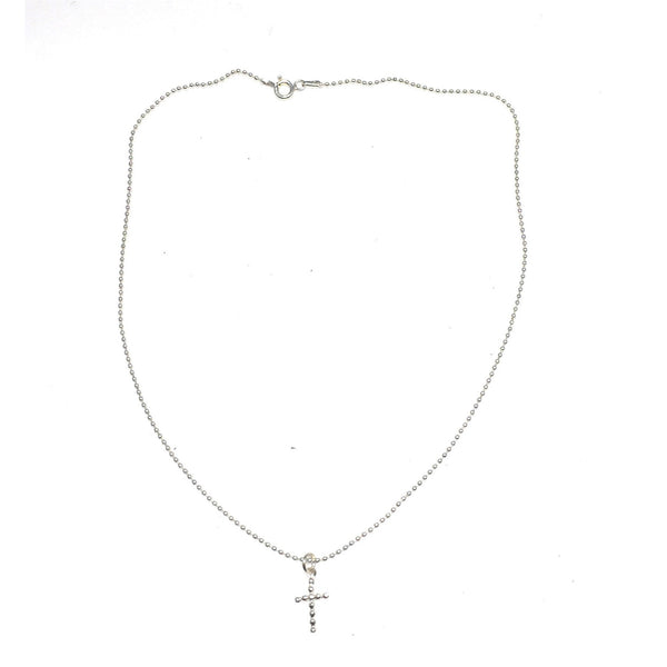 Sterling Silver Ball Necklace and Cross Charm - SPREE