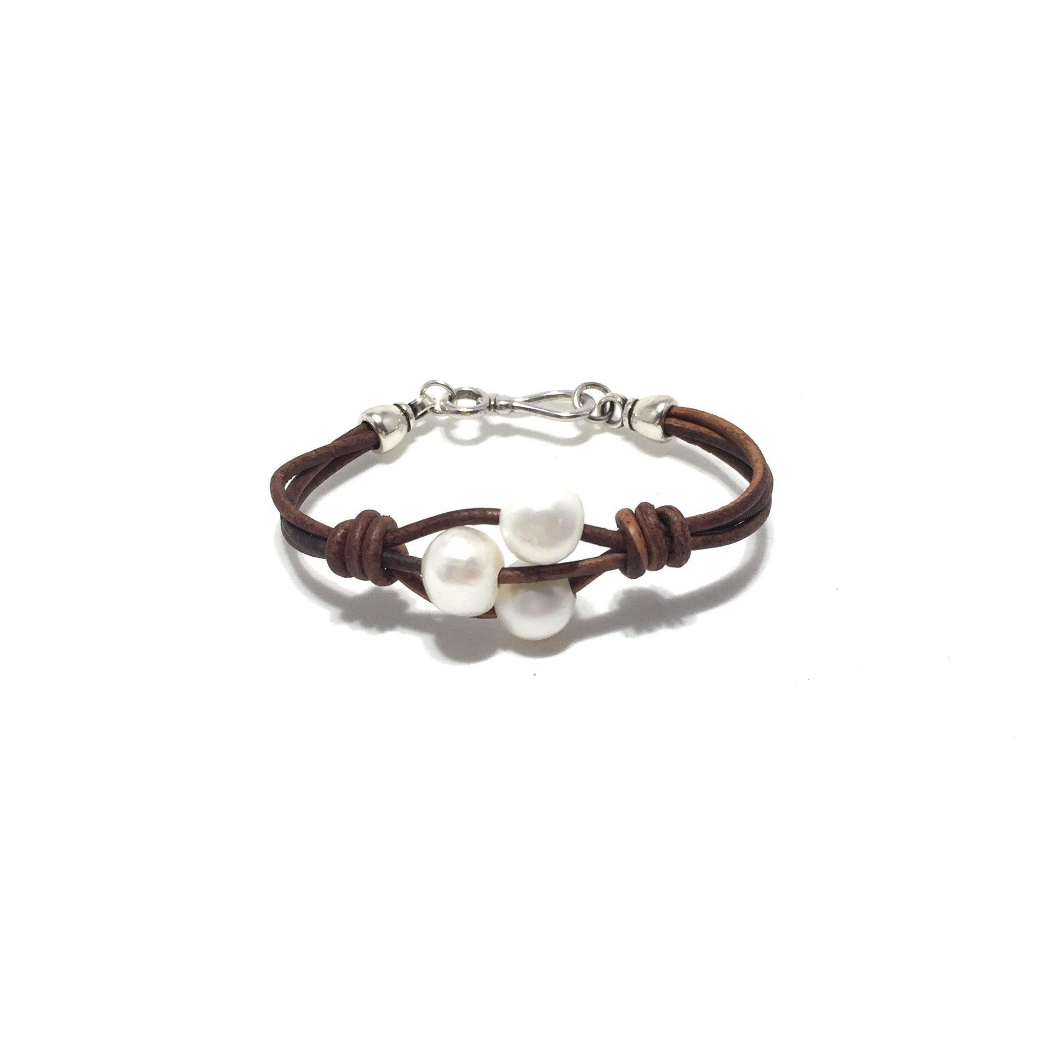 Three pearl Leather Bracelet - SPREE