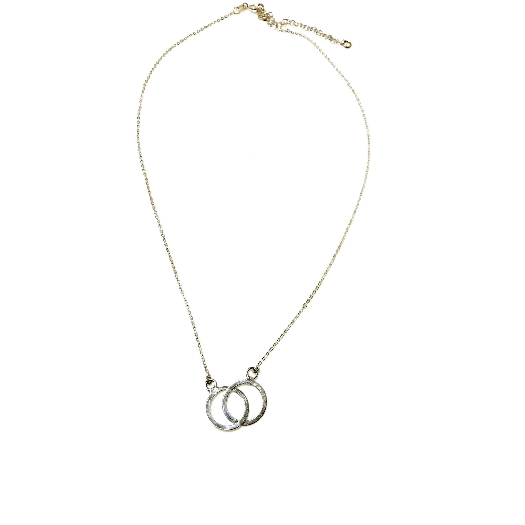 Sterling Silver Double Ring Adjustable Necklace - SPREE