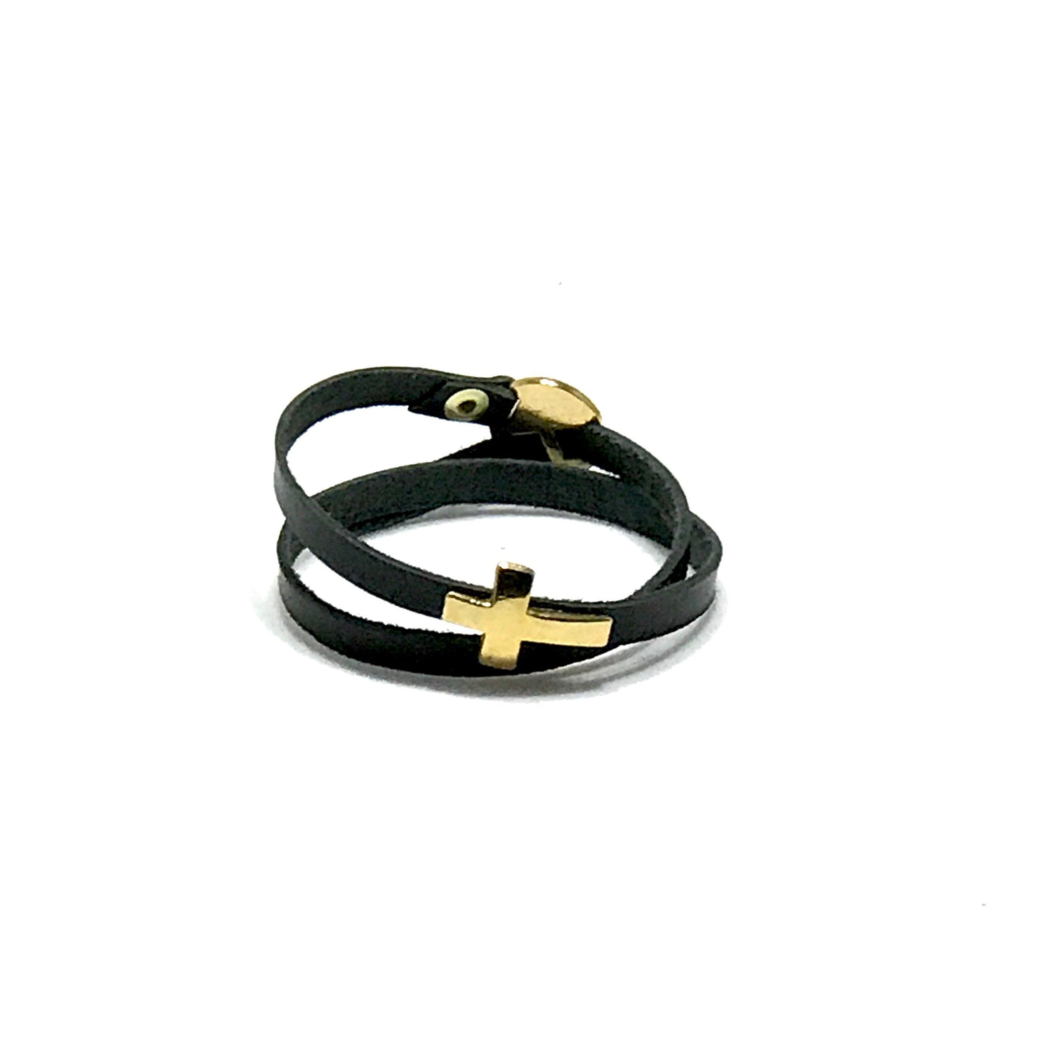 Double Wrap Leather Cross Bracelet - SPREE