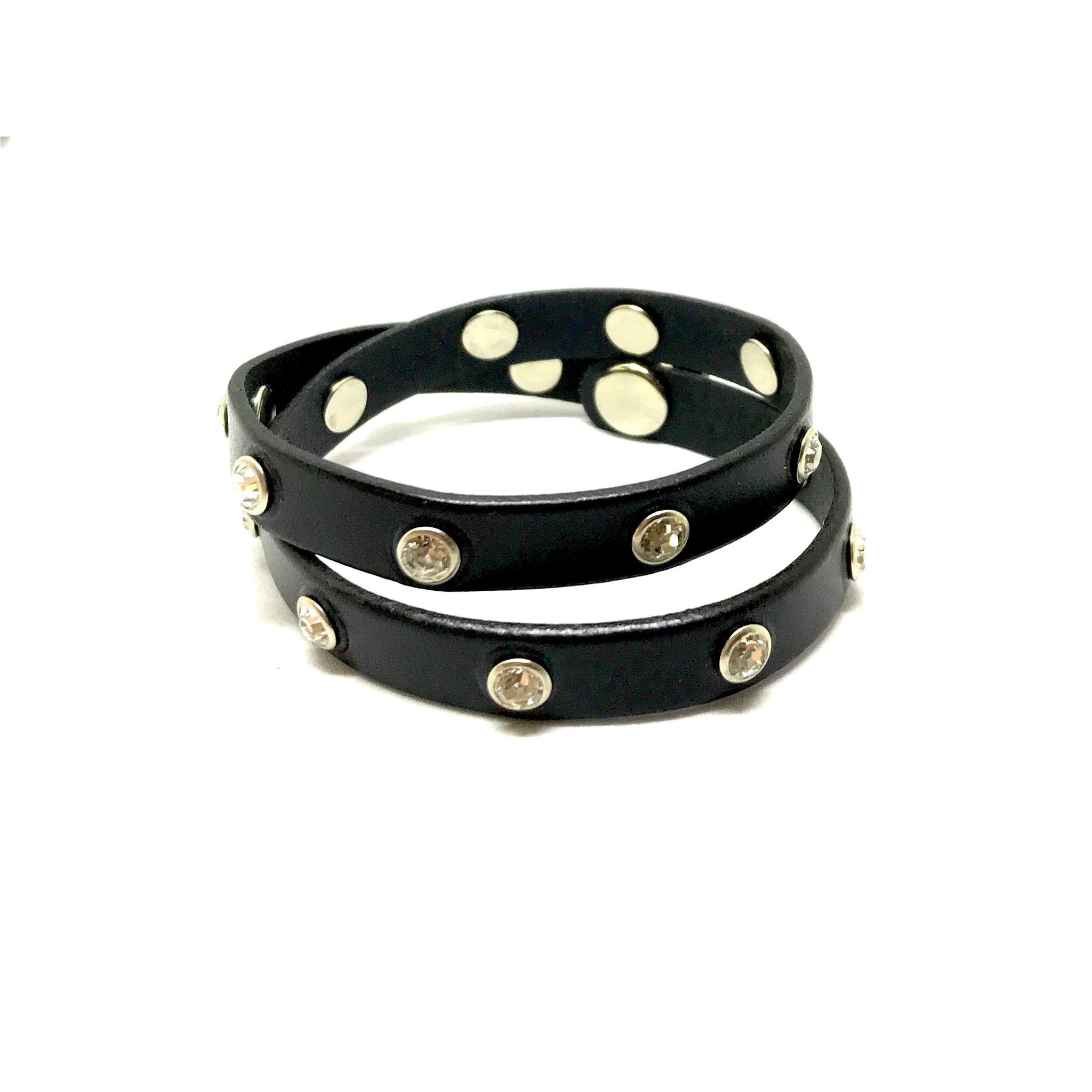 Leather Swarovski Rivet Double Wrap Bracelet - SPREE