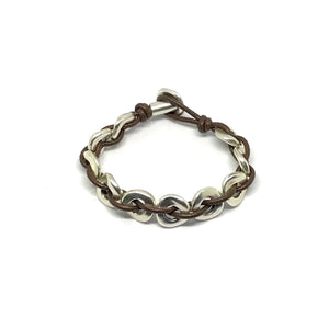 Leather and Antique Silver Link Bracelet - SPREE