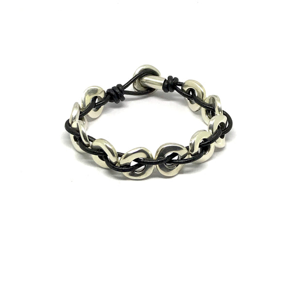 Leather and Antique Silver Link Bracelet - SPREE Boutique