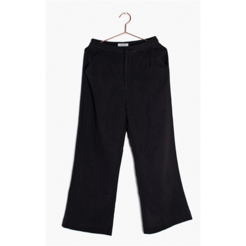 Black Ankle Length Linen Pant