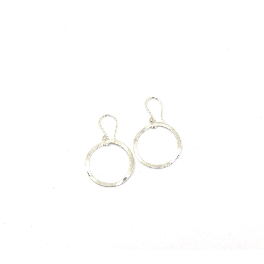 Sterling Silver Hammered Circle Earrings - SPREE