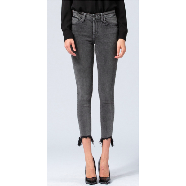 Mid Rise Uneven Raw Hem Crop Skinny Jeans