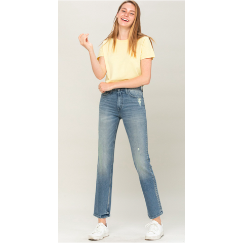 High Rise Slim Crop Straight Jean