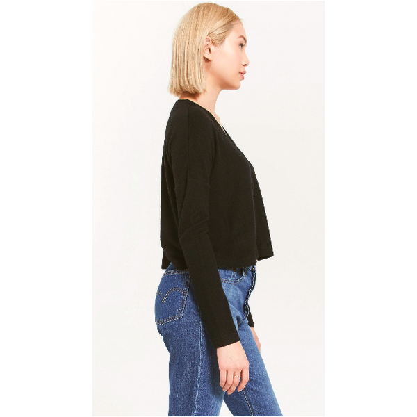 Black Slub Sweater Cardigan