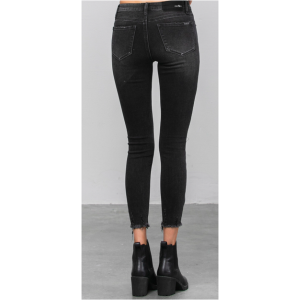 High Rise Dark Grey Skinny Ankle Jean