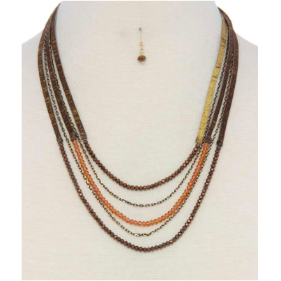 Leather Beaded Layered Necklace & Earring Set - SPREE