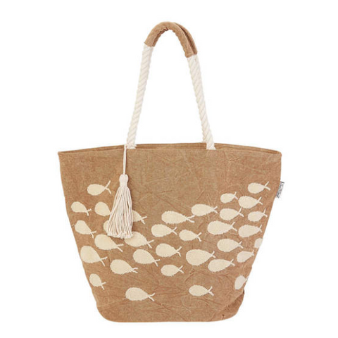 Tan Vintage Tropical Fish Tote Bag - SPREE
