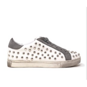 White Studded Fashion Tennis Shoe - SPREE