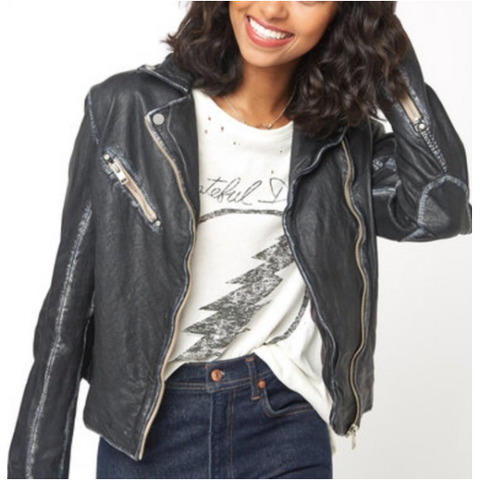 Mauritius Sofia Black Leather Jacket - SPREE