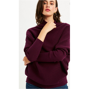 Plum Slouch Neck Dolman Knit Top - SPREE