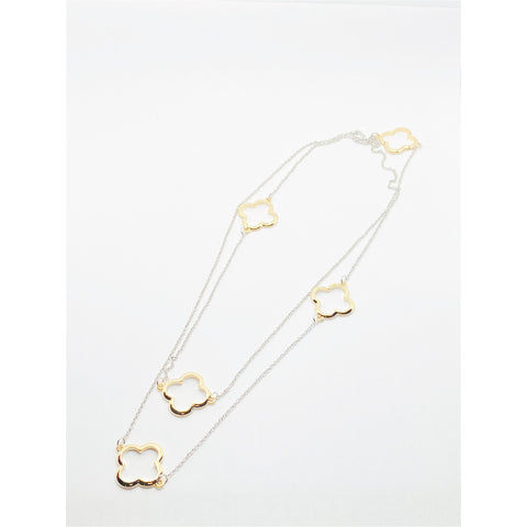 Clover Shaped Two Tone Necklace