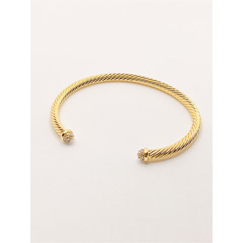 Gold Plated Crystal Edge Cuff