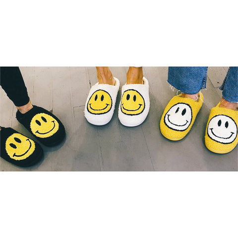 Smiley Face Sherpa Slippers