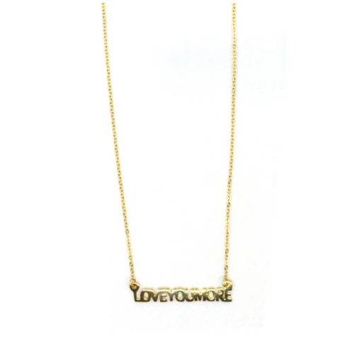 Love You More Gold Bar Necklace