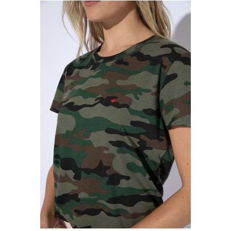 Heart Embroidered Camo Loose Tee