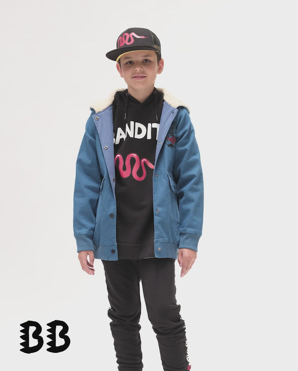 Bandits by Band of boys Lightning Tiger Bomber Jacket with faux fur lined hood shown on Model.