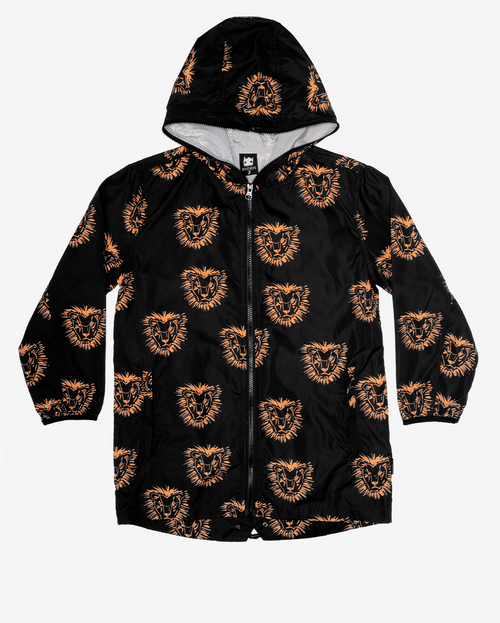 Lion mane rain jacket - black boys rain jacket with hood, zip up front and orange lion head repeating print.
