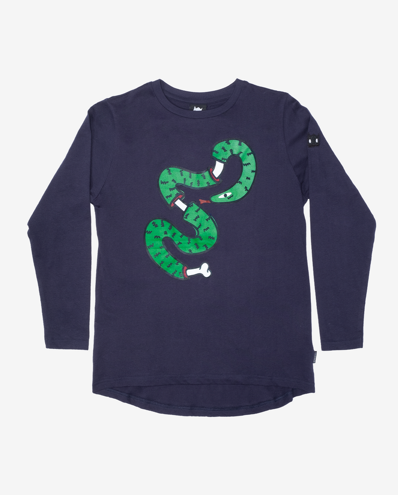 Snake bone long sleeve tee - Navy blue long sleeve boys tshirt with scoop back hem and large green snake bone print on chest.