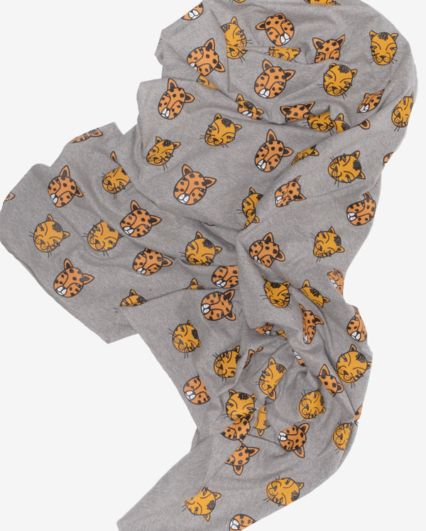 Cat faces swaddle wrap - grey baby swaddle wrap with repeating orange cat face print.