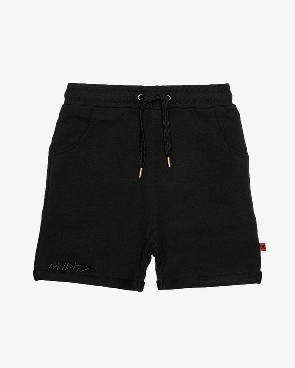 Bandits black relaxed shorts - plain black boys shorts with drawstring waist, and pockets.