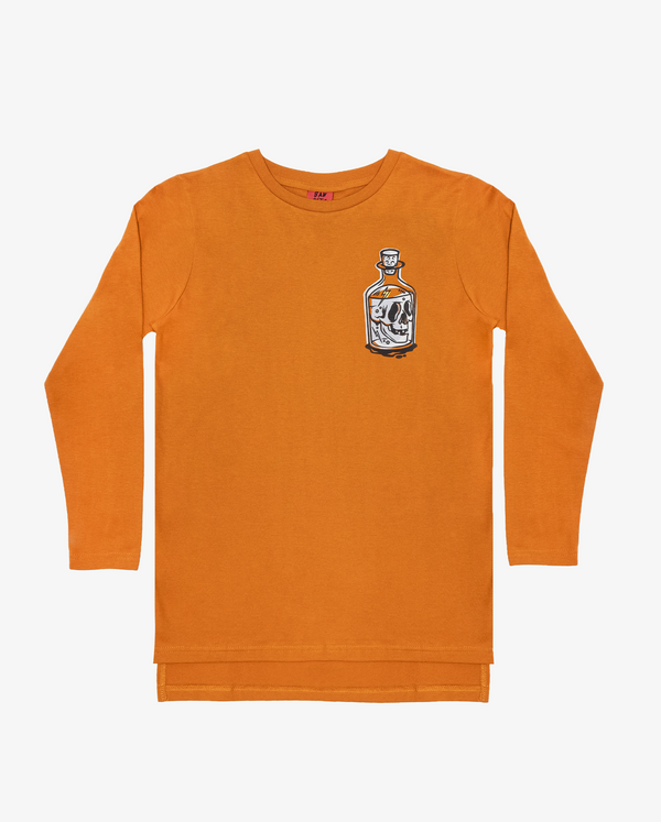 Bandits by Band of Boys Ochre Long Sleeve Step Hem Flat Lay