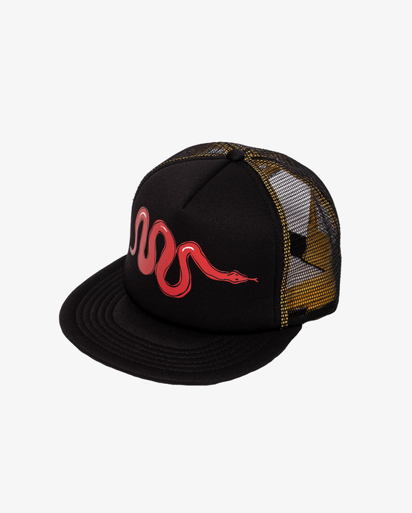 AW21 Bandits by band of boys Black Foam Mesh Trucker Cap with Red Viper