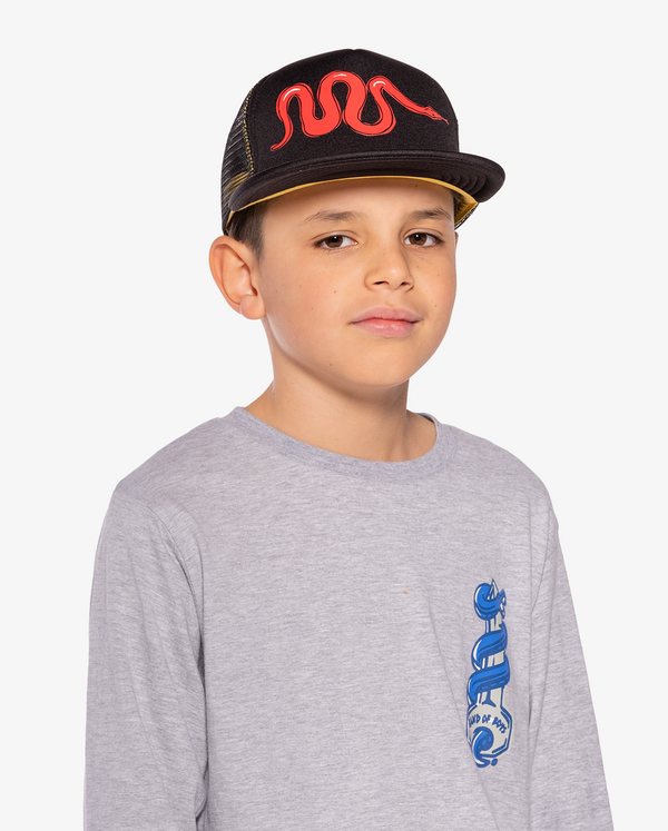 AW21 Bandits by band of boys Black Foam Mesh Trucker Cap with Red Viper on model