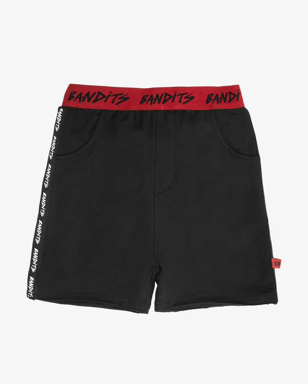 Bandits tape track shorts - Black boys track shorts with red waist band featuring 'bandits' text and white 'bandits' text up side seam.
