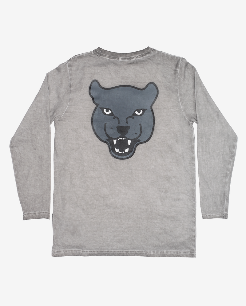 Grey panther long sleeve tee - Grey vintage wash long sleeve boys tshirt with straight hem and large grey panther head print on centre back.